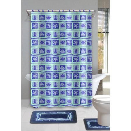 Dolphin 15 piece ocean bathroom accessories set rugs sower for Navy bathroom accessory sets