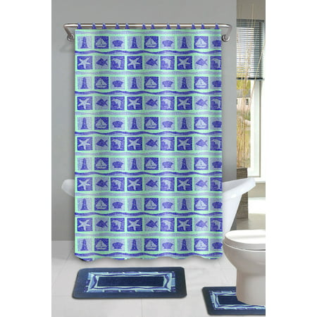 Dolphin 15 piece ocean bathroom accessories set rugs sower for Navy bathroom accessories