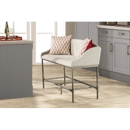 Dillon Counter Height Bench Metal Pewter Woven Fabric - Hillsdale Furniture