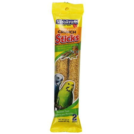 Parakeet Whole Grains & Honey Treat Sticks 2 Pack, 2.11 Ounce, Triple baked for crunchiness and great taste. By Vitakraft