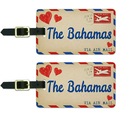 Air Mail Postcard Love for The Bahamas Luggage Suitcase ID Tags, Set of 2