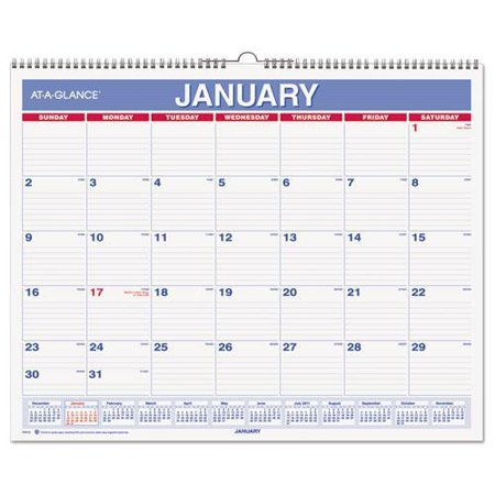 At A Glance Monthly Wall Calendar  15  X 12   Red Blue  2016