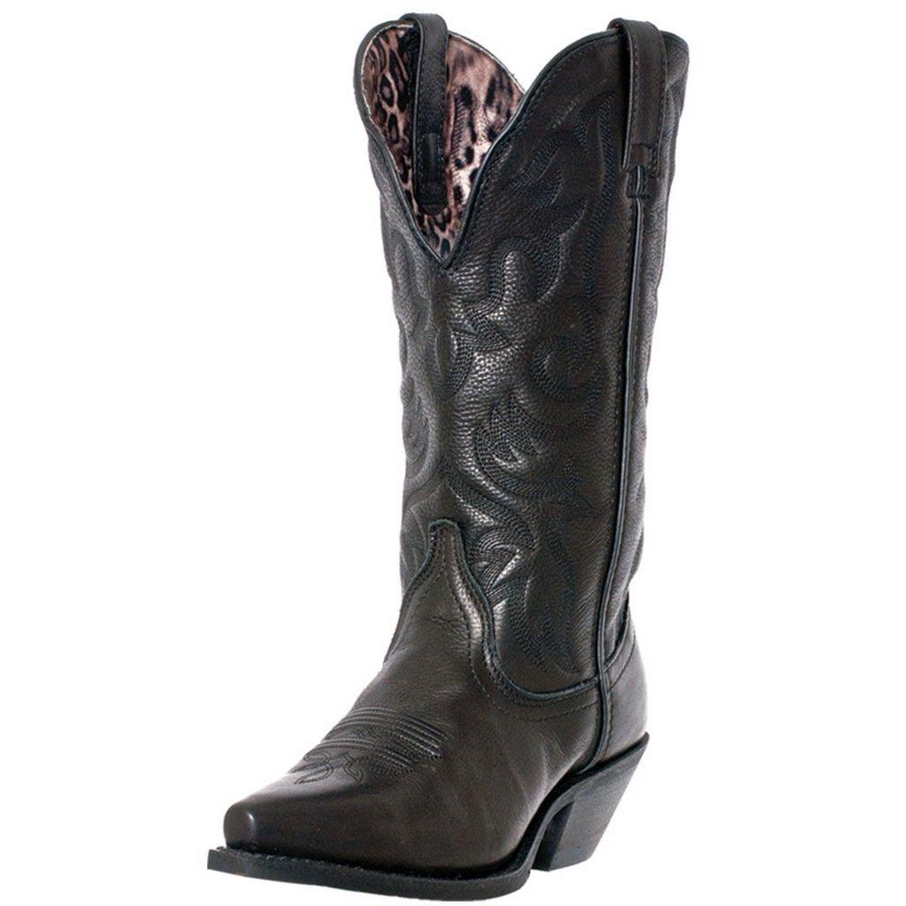 Laredo Western Boots Womens Access Deep Dip Cowboy Leather Black 51070 by Laredo