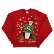 Holiday Party Mens Red Penguin & Reindeer Christmas Sweatshirt