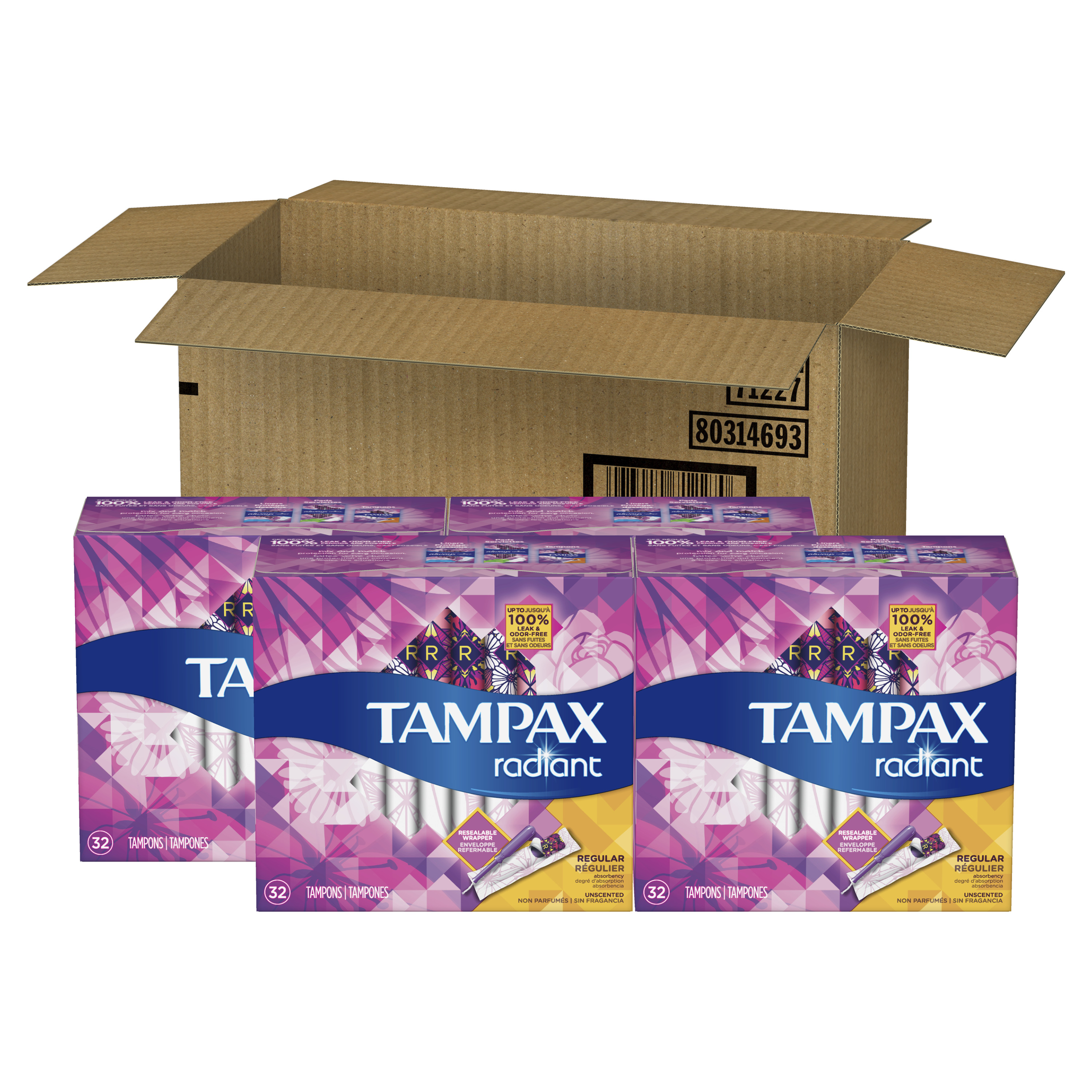 Tampax Radiant Regular Plastic Tampons, Unscented, 128 Count