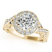 Allurez 14k Gold Infinity Antique Style Halo Diamond Engagement Ring 1.70ct