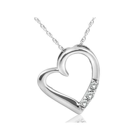 Diamond Heart Pendant 3-Stone 10K White Gold
