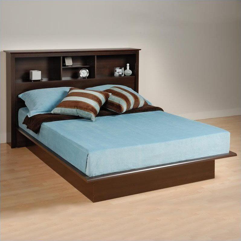 Prepac Manhattan Double / Full Bookcase Platform Bed in Espresso Finish