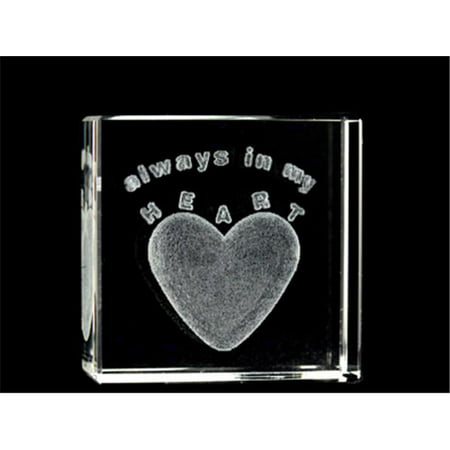 Asfour Crystal 1162-50-40 2 L x 2 H x 1 W in. Crystal Laser-Engraved Always In My Heart Love & Hearts Laser-Cut