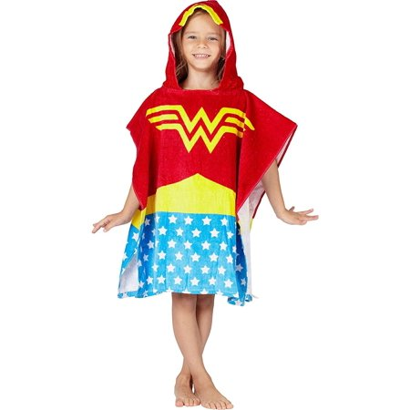 wonder woman bath towel pool/beach hooded poncho robe (Wonder Woman Beach)