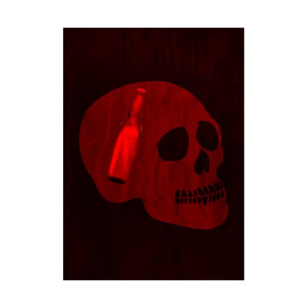 Red Skull Face With Bottle In Head Picture Fun Drinking Humor Bar Sign  Aluminum Metal - Halloween Drinking Games 2017