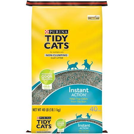 Purina Tidy Cats Non Clumping Cat Litter, Instant Action Low Tracking Cat Litter - 40 lb. - Non Clumping Cat Litter