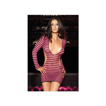 f4205f65c65b Leg Avenue - Leg Avenue Women's 2 Piece Striped Fishnet Mini Dress with  G-String, Black/Pink, One Size - Walmart.com