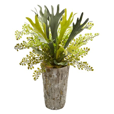 Nearly Natural 19-In. Staghorn and Maiden Hair Fern Artificial Plant in Weathered Vase