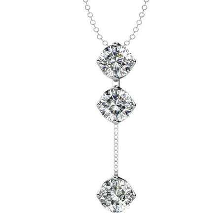 Cate & Chloe Sloane Hero 18k White Gold Pendant Necklace with Swarovski Crystals, Trendy Unique Sparkling Round Cut Diamond Necklace, Drop Dangling Pendant, Y Necklace, Silver Necklace - MSRP $175