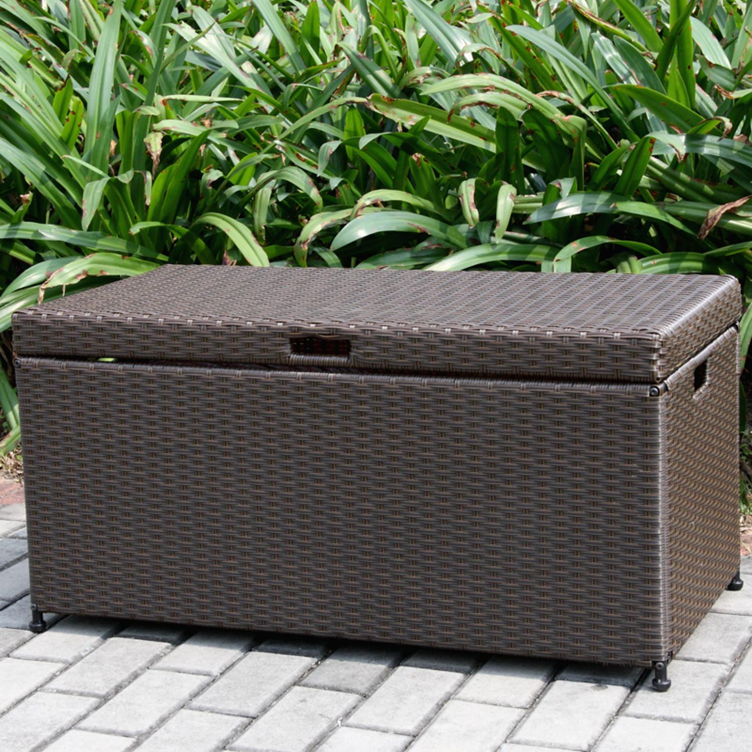 "40"" Espresso Brown Resin Wicker Outdoor Patio Garden Hinged Lidded Storage Deck Box by CC Outdoor Living"