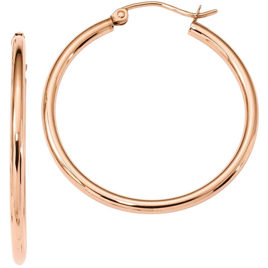 10kt Rose Gold 2mm Polished Hoop Earrings