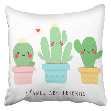 ECCOT Three Cute Cartoon Cactus with Funny Faces in Pots with Plants are Friend Text Pillowcase Pillow Cover 20x20 (Put Your Face On A Pillow Case)