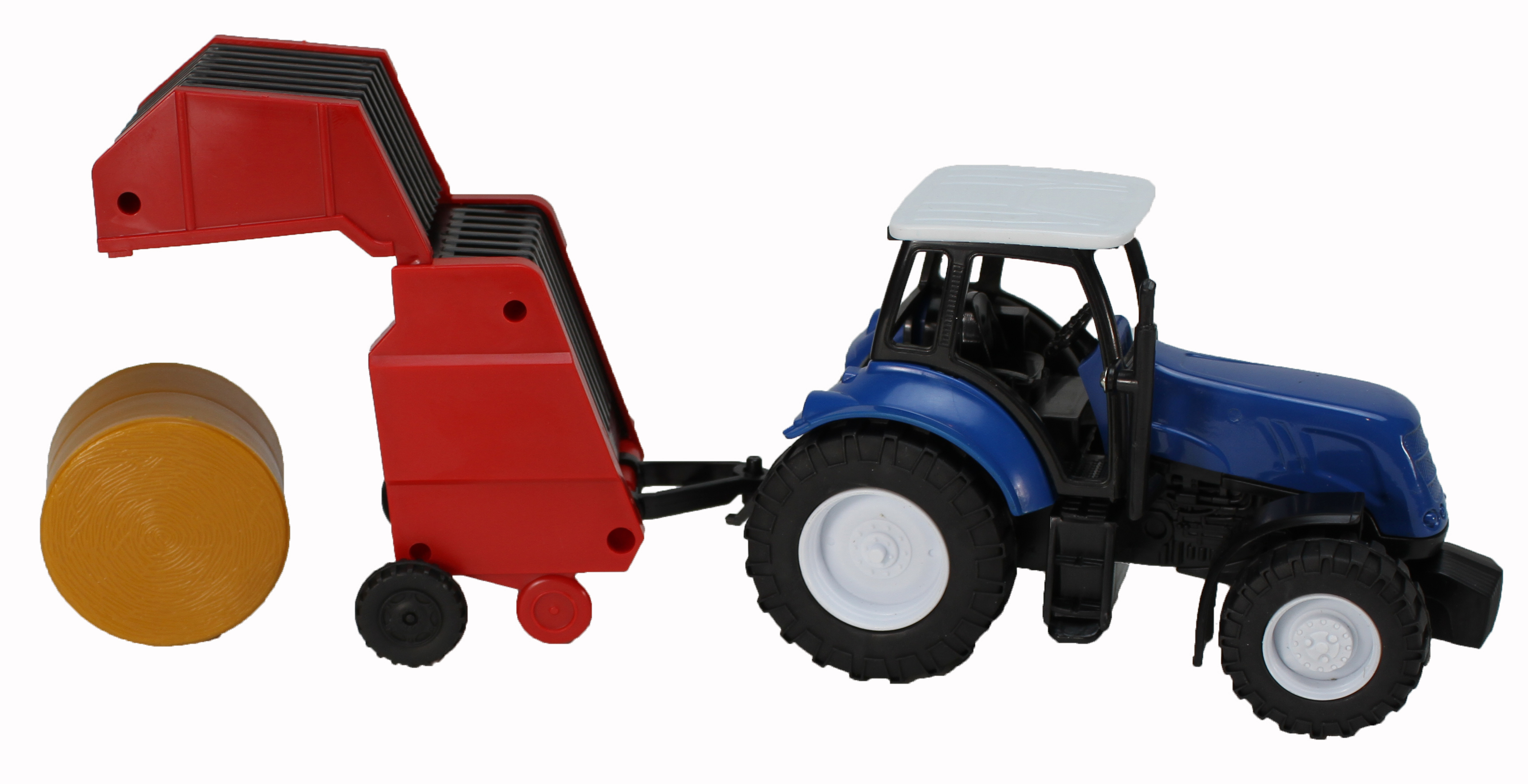Blue Farm Tractor with Round Hay Baler by NewRay