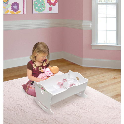 Badger Basket White Rose Doll Cradle, Fits American Girl and My Life As Dolls