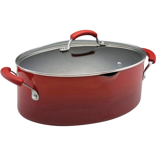 Rachael Ray 8-Quart Covered Porcelain Enamel Non-Stick Pasta Pot with Pour Spout