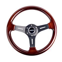 Nrg Steering Wheel Classic Wood Grain With Black Spokes 330mm - Part # St-015-1bk (Spokes Steering Wheel Wheels)