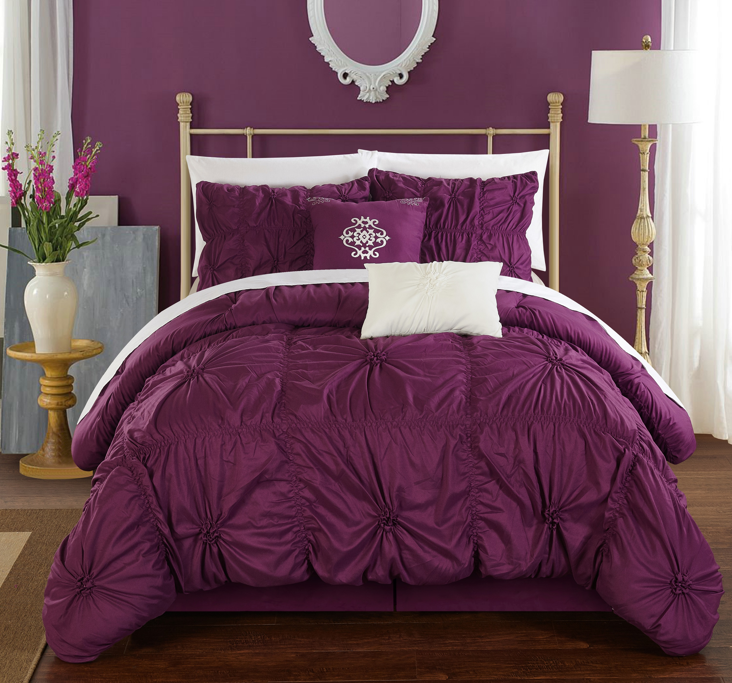 Chic Home 6-Piece Hyatt Floral Pinch Pleat Ruffled Comforter Set