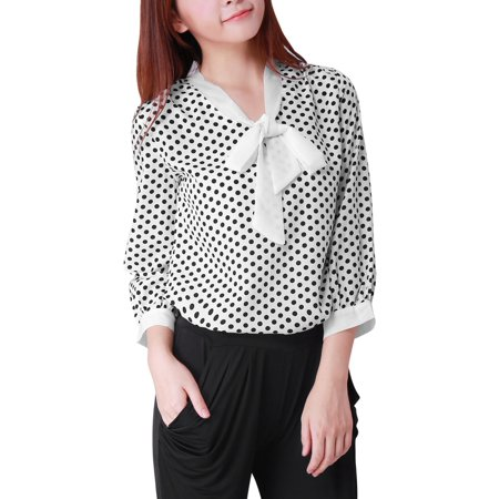 Women's Polka Dots 3/4 Sleeve Dressy Blouse White (Size XL / 16) - Poka Dots