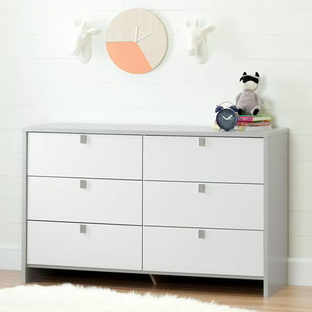 Pure White Double Dresser (South Shore Cookie 6-Drawer Double Dresser, Soft Gray and Pure White )