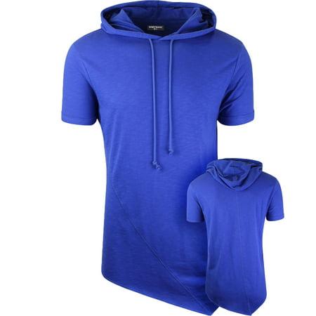7867a9f7d ShirtBANC - ShirtBANC Mens Hipster Hip Hop Long Drop Tail T Shirts Hooded  Pyramid Cut (Cobalt, XL) - Walmart.com