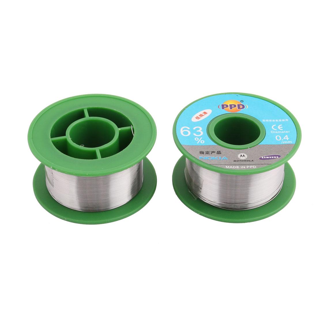 2Pcs 0.4mm Diameter 63/37 Tin  Welding Soldering Solder Wire Rosin Core Reel