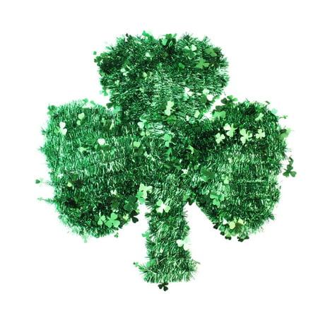 17   St  Patricks Day Irish Shamrock Tinsel Window Decoration