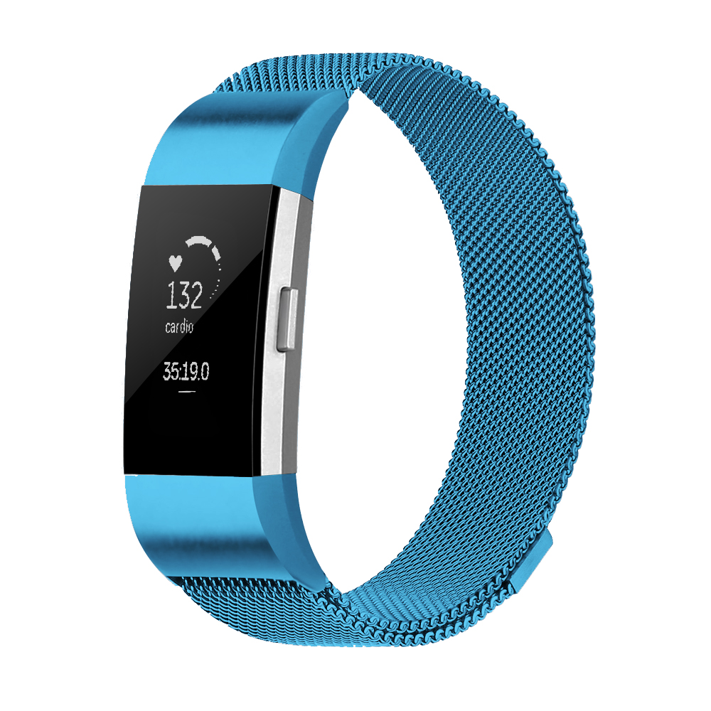 Element Works Wrist Fitbit Charge 2 band : Milanese Loop Stainless Steel Band for Fitbit Charge 2 Watch ( Large ) - Blue