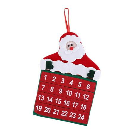 LAFGUR Xmas Decor Fabric Pockets Merry Christmas Santa Claus Father Advent Calendar Countdown Ornament, Xmas Decor Fabric Pockets, Santa Claus Advent Calendar ()