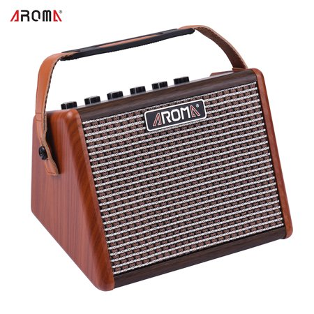AROMA AG-15A 15W Portable Acoustic Guitar Amplifier Amp BT Speaker Built-in Rechargeable (Best Rated Guitar Amps)