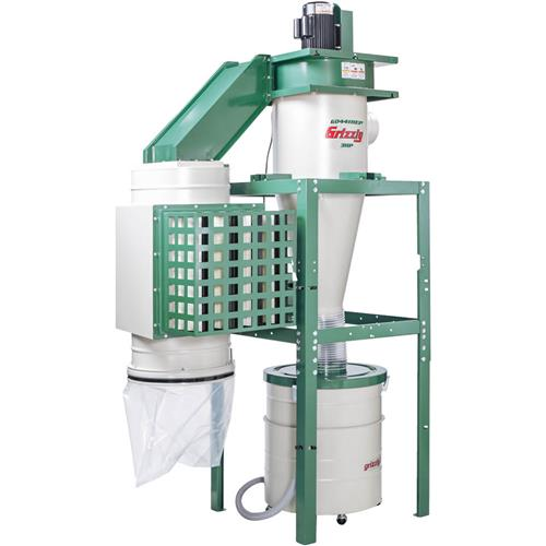 Grizzly Industrial G0441HEP 3 HP Dual-Filtration HEPA Cyclone Dust Collector by