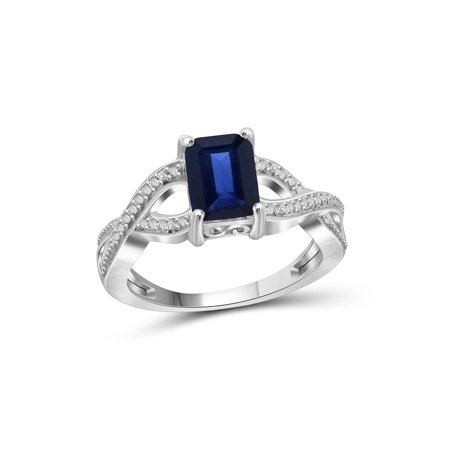 (JewelersClub 2 Carat T.G.W. Sapphire and White Diamond Accent Sterling Silver Infinity Ring)