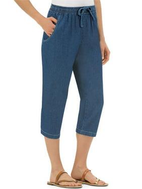 cab8caf74dd Product Image Women's Denim Capris With Pockets And Elasticized Waist,  Medium, Denim