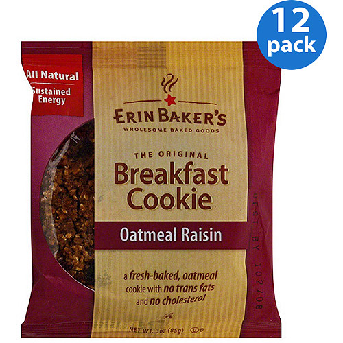 Erin Baker's Oatmeal Raisin Breakfast Cookie, 3 oz, (Pack of 12)