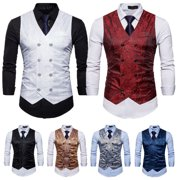 SUNSIOM Men's Dress Suit Vest Formal Business Wedding Tuxedo Waistcoat Jacket Coat Tops