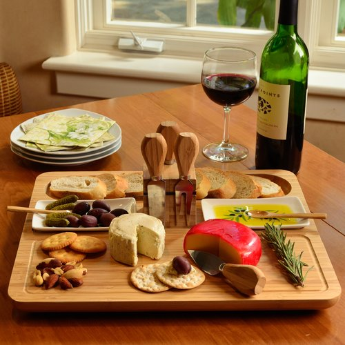 Picnic At Ascot Sherborne 9 Piece Bamboo Cheese Board Set