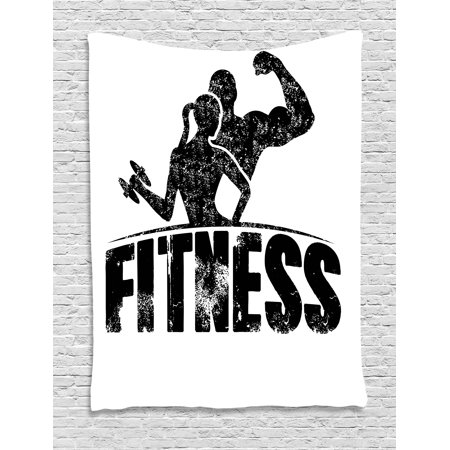 Fitness Tapestry, Grunge Man and Woman Silhouettes Working Out Muscles Strong Training Couple, Wall Hanging for Bedroom Living Room Dorm Decor, Black and White, by Ambesonne (Famous Black And White Couples For Halloween)