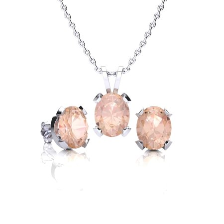 3 Carat Oval Shape Morganite Necklace and Earring Set In Sterling (White Oval 123)