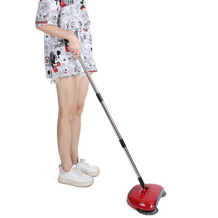 Portable 360 Degree Rotary Hand Push Broom Sweeper Red