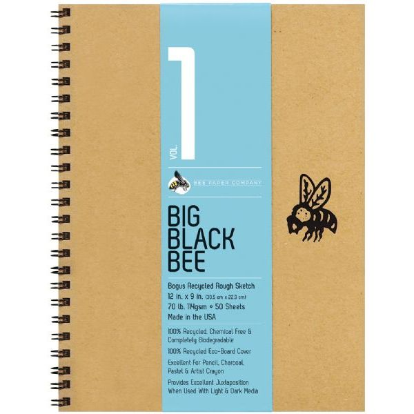 "Bee Paper Big Black Bee Bogus Recycled Rough Sketch Paper Pad 12"" x 9"""
