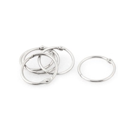 Unique BargainsMetal Free DIY Ring Chain Key Split Loop Holder Silver Tone 27mm Inner Dia 5pcs - Diy Keychain