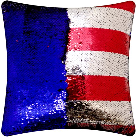 Mainstays Reversible Sequin Red To Silver Stripe W Blue Decorative Beauteous Red And Blue Decorative Pillows