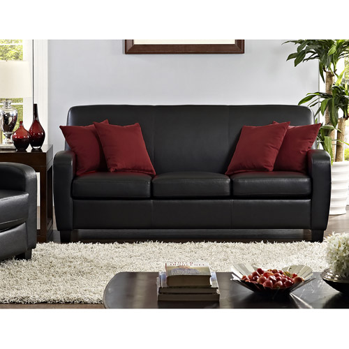 mainstays faux leather sofa black walmart com rh walmart com leather sofa black dye leather sofa black and red