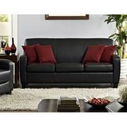 Mainstays 54 Quot Faux Leather Loveseat Sleeper Black Best