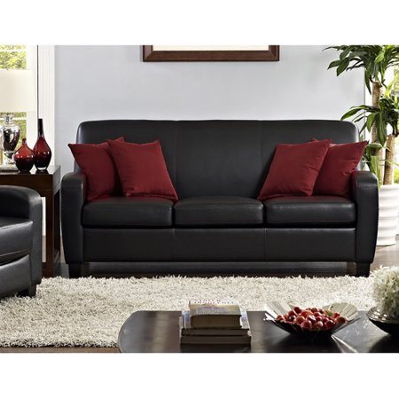 Mainstays Faux Leather Sofa, -